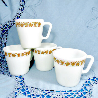 Set of 4 Pyrex Coffee Mugs Butterfly Gold 1410 D-Handle Milk Glass Cups, Corning