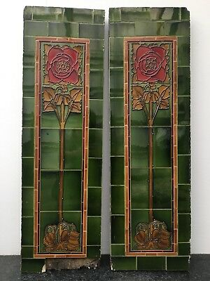 Original Antique Art Nouveau Tiled Side Panels Fireplace Insert Tiles Fire QP130