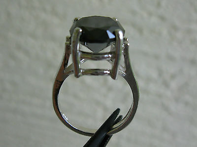 4.40ct NATURAL BLACK DIAMOND RING SOLITAIRE,CERTIFICATE FREE DIA TESTER SIZE 5