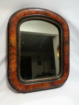 Antique Primitive Curly Maple Veneer Wood Framed Mirror 15 x 12 inches
