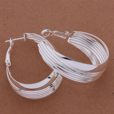 Womens 925 Sterling Silver Elegant 34mm Round Hoop Vogue Earrings #E311