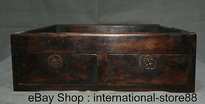 """14"""" Old China Huanghuali Wood Hand Carving Palace Word Drawer Big Cigarette Box"""