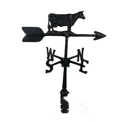 Satin Black Recycled Aluminum 24 in. Adjustable Roof Mount Cow Weathervane