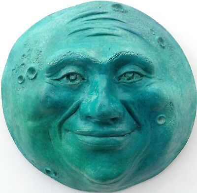 Full Moon Wall Sculpture, Turquoise Tint, Original Unique Artwork by Claybraven