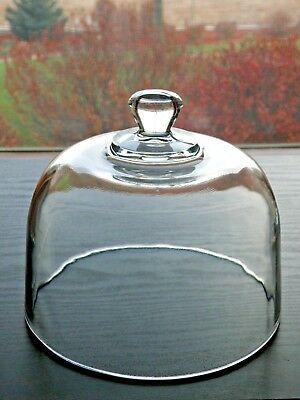 "Clear Glass Replacement 6 1/2"" wide Cheese Dome Cover, Plants,Terrarium, CupCake"
