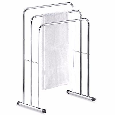 Three Tier Curved Tubular Steel Free Standing Floor Towel Stand Valet Rack New