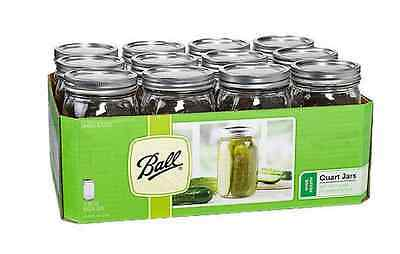 12 Pack Ball Mason Canning Jars Clear 32 Oz Quart Lids Bands Wide Mouth Glasses