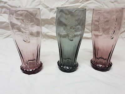 3 X Coloured McDonalds  Coca Cola Glasses
