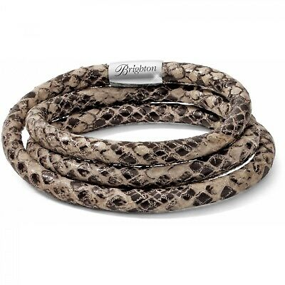 NWT Brighton WOODSTOCK Beige Python Snake TRiPLE Leather Bracelet MSRP $60