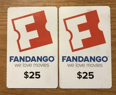 2 FANDANGO GIFT CARDS ($25 each) $50 TOTAL MOVIE TICKETS!