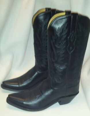 987bef5d6eb OLD WEST BLACK Womens All Leather Snip Toe 12in Cowboy Western Boots 9