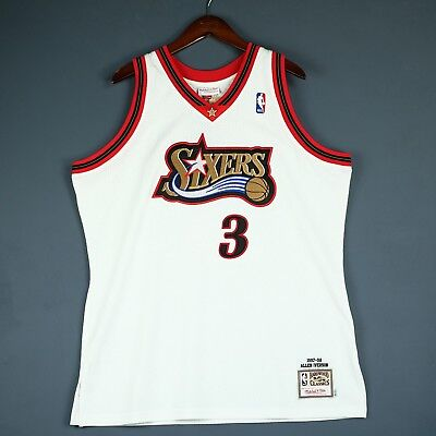 100% Authentic Allen Iverson Mitchell   Ness 97 98 Sixers Jersey Size 48 XL  Mens 7f71133bb