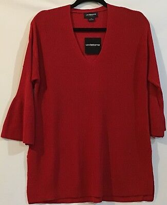 New Liz Claiborne Career M Red Rib Knit Pullover Rayon Sweeter 3/4 Bell Sleeve