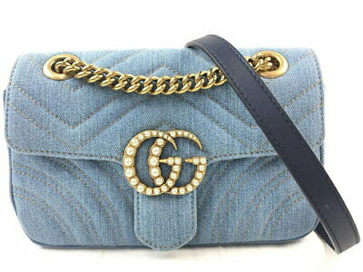 ad2391a3111 GUCCI 446744 GG Marmont Chain Shoulder Bag Denim Artificial Pearl Blue Used  Ex++