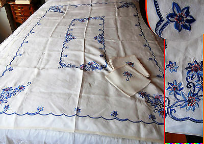Ancienne Superbe Immense NAPPE LIN BRODEE 185 x 137 + 8 SERVIETTES