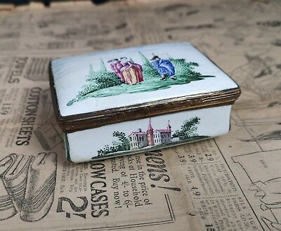 Antique German enamel snuff box, hand painted scene, 18th century