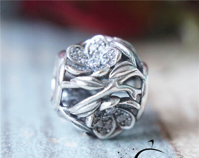 Authentic PANDORA Sterling Silver Clear Mystic Floral Charm Bead 791419CZ