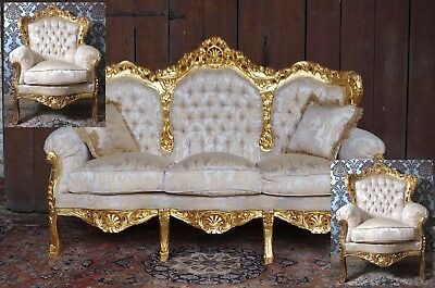 """Spectacular 72"""" sofa + two 36"""" armchairs baroque style exclusive italian fabric"""