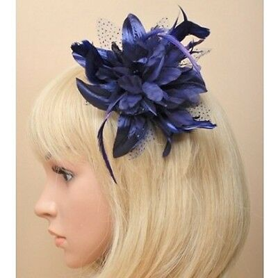 Navy Blue Feather Flower Design Fascinator on Clear Comb - Weddings/ Races/ Prom