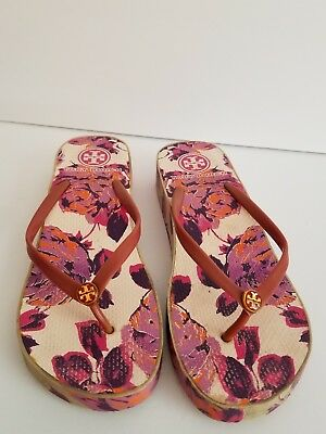 fbb42bc1ca1986 Cute Tory Burch Floral Flip Flops Size 10M Pinks And Purples