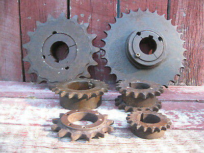 Lot of (6) Vintage Antique Cast Iron Gears Sprockets Steampunk Industrial