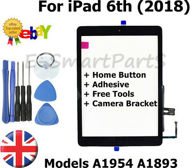 BLACK Touch Screen Glass Replacement + Home Button For iPad 6th 2018 A1893 A1954