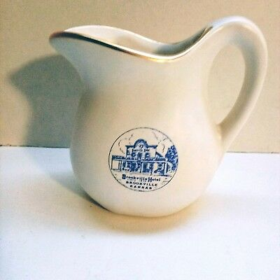 Brookville Hotel Cream Pitcher Vintage Brookville, Kansas Landmark Collectible