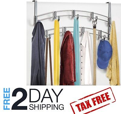 Cloth Hanging Stand Rack Wall Over the Door Clothing Scarf Hat Hanger 9 Hooks