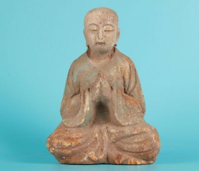 Buddhist Chinese Wood Statue Old Hand-Carved Monks Collect Spiritual Gifts