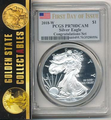 2018 W $1 Proof Silver Eagle Congratulations Set Pcgs Pr70 Dcam First Day Issue