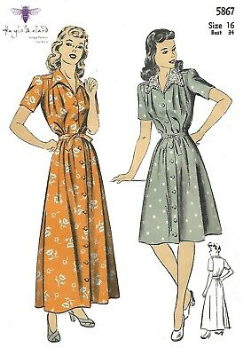 Vintage 1940's Sewing Pattern Housecoat Robe Dressing Gown Maternity Dress B 30