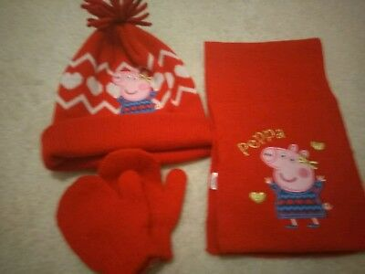 457c5f472ce57 GIRLS PEPPA PIG Hat And Gloves Set - Size 1-3 Years - EUR 6