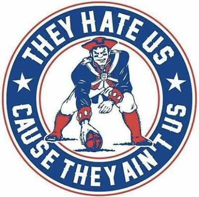 (3) New England Patriots Vinyl Stickers They Hate Us Cause They Ain't Us Decal
