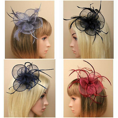 Ladies Circular Sinamay & Feather Fascinator on Spring Clip/ Pin