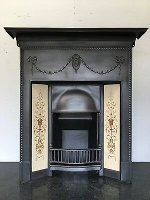 Original Restored Antique Cast Iron Edwardian Tiled Fireplace Insert (QP095)