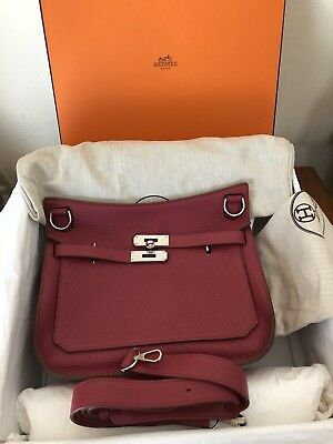 AUTHENTIC HERMES JYPSIERE 28 Clemence Leather Dark Red Rubis PHW ... 562fe986939d1