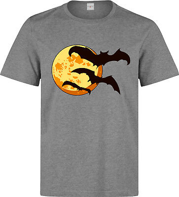Halloween Moon With Bats Scary Artwork men's (woman's available) grey t shirt