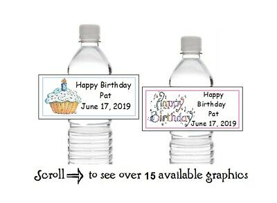 10 Personalized Happy Birthday Party Water Bottle Labels Wrappers Favors
