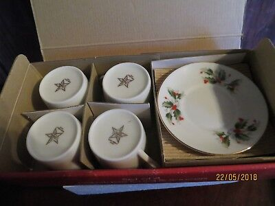 Macy's All The Trimmings Set of Four Demitasse Cups & Saucers Espresso NIB