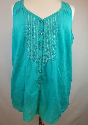 c1c4418cb3b6f Lane Bryant Size 26 28 Tank Top Blue Sleeveless Cotton Shirt Turquoise Boho  Soft