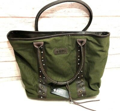 Beryll Los Angeles Green Canvas Saddle Leather Studded Tote Bag New With Tags 3-