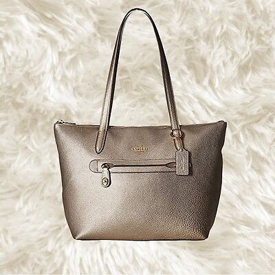 9dfc947afa4 COACH 23592 TAYLOR Tote Metallic Ivy Green Leather -  139.00   PicClick