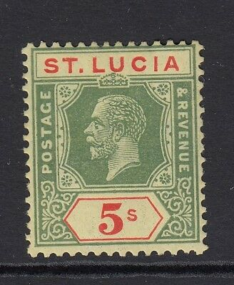 St.lucia Sg105 1923 5/= Green & Red On Pale Yellow Mtd Mint