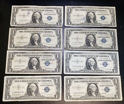 STAR NOTES LOT OF 8pcs US $1 SILVER CERTIFICATES 1935 1957 CIRCULATED  BJ16A
