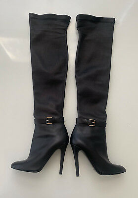 8056f80a407 JIMMY CHOO TURNER Black Suede Stretch Over The Knee Tall High Boots ...