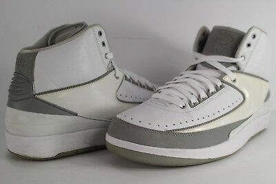 new concept ffd4c 3ba3a Nike Air Jordan Retro II 2 25th Anniversary White Metallic Silver Grey Size  12