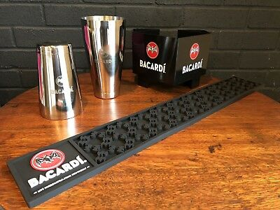 Bacardi Rum Bar Set Rail Mat Shaker Tin Napkin Holder