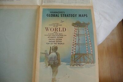 Vintage Hammond's Global Strategy Map W/ 4 Global View Maps -  Top Of The World