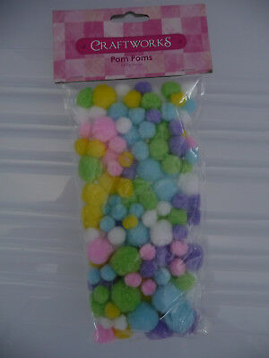 Pom Poms  140 Pieces per pkt  - Pastel colours