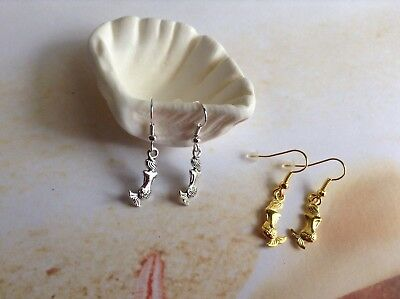 Nautical Gold Tone Silver Plated Double Sided Mermaid Earring Hooks Jewellery